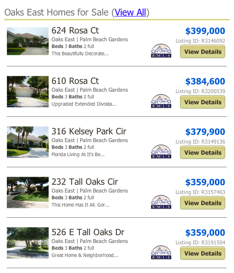 Oaks East Homes for Sale (View All) listings