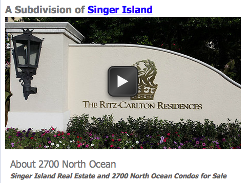 Singer Island Real Estate and 2700 North Ocean Condos for Sale