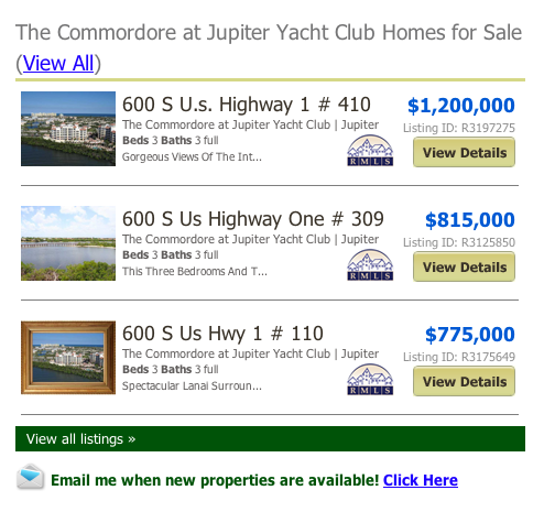 The Commordore at Jupiter Yacht Club Homes for Sale (View All) listings