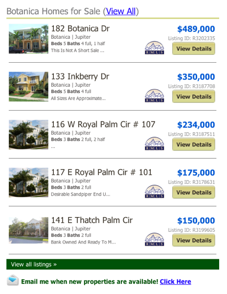 Botanica Homes for Sale (View All) listings