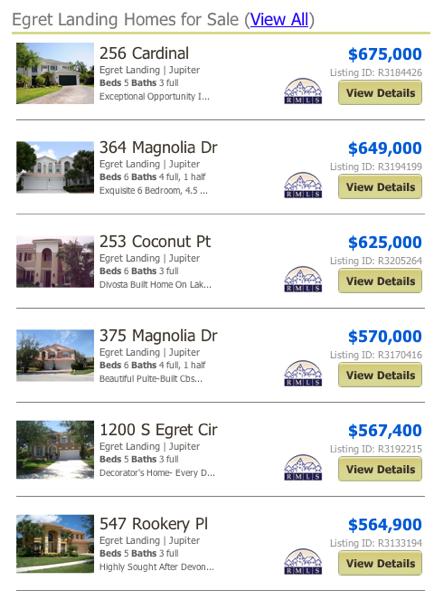 Egret Landing Homes for Sale View All MLS Listings