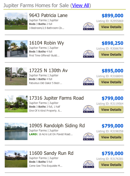 Jupiter Farms Homes for Sale MLS listings