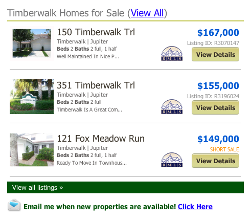 mls search Timberwalk Homes for Sale (View All)