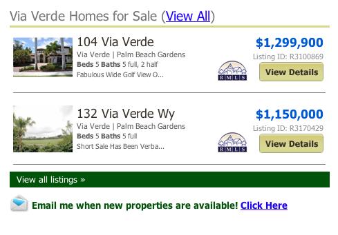 FL MLS Via Verde Homes for Sale (View All) Palm Beach Gardens
