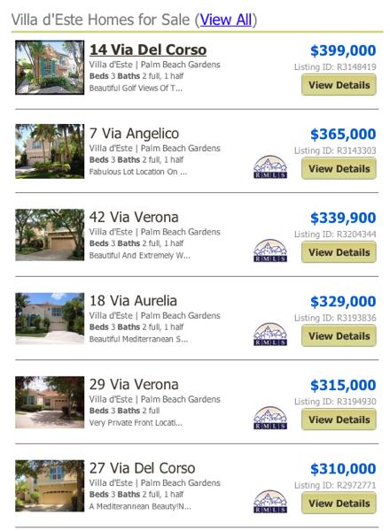 Villa d'Este Homes for Sale MLS listings