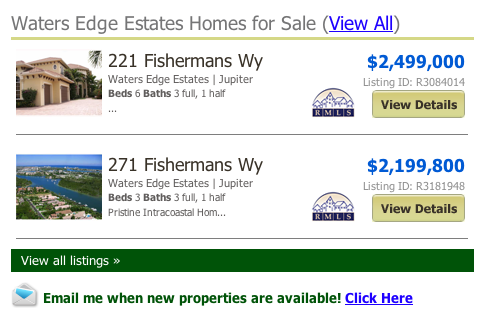 search mls Waters Edge Estates Homes for Sale (View All)