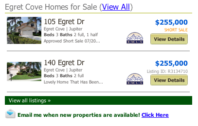 Egret Cove Homes for Sale MLS search