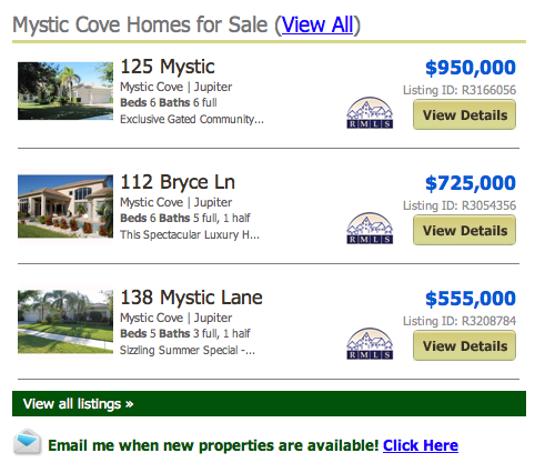 Mystic Cove Homes for Sale Jupiter FL