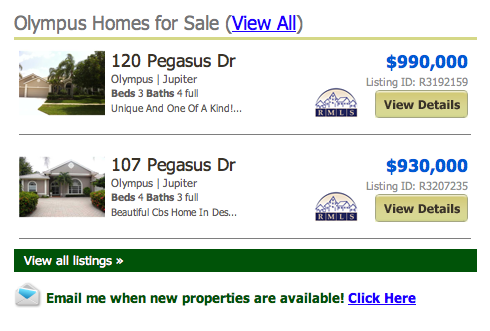 Olympus Homes for Sale Jupiter MLS listings
