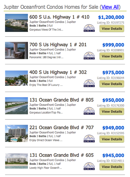 Jupiter Oceanfront Condos Homes for Sale