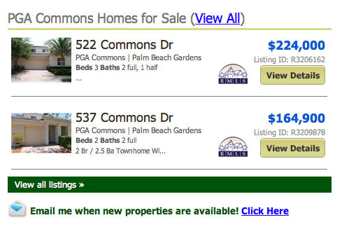 PGA Commons Homes for Sale