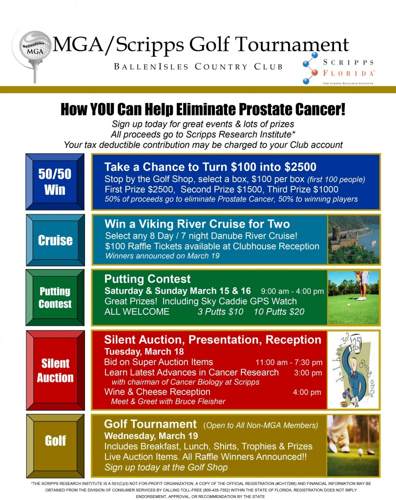 MGA/Scripps Golf Tournament at BallenIsles on March 19th, 2014, to Wipe Out Prostate Cancer