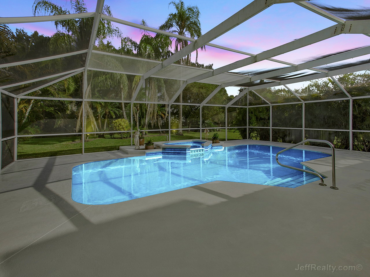 5489 Sea Biscuit Road - Screened Swimming Pool at Sunset