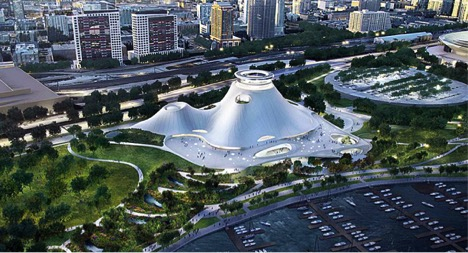 Artist rendering of the proposed Lucas Museum of Narrative Art (AP