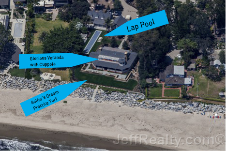Lucas' masterpiece by the sea has some interesting features that really capture the SoCal lifestyle, including a lap pool that dwarfs the size of his neighbor's house.