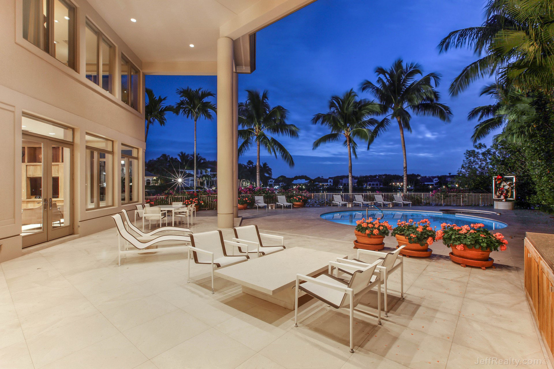127 Commodore Drive - Patio & Pool at Sunset - Admirals Cove