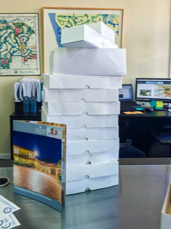 Pictured: Stack of brochures that arrived within one week of all photos being taken.