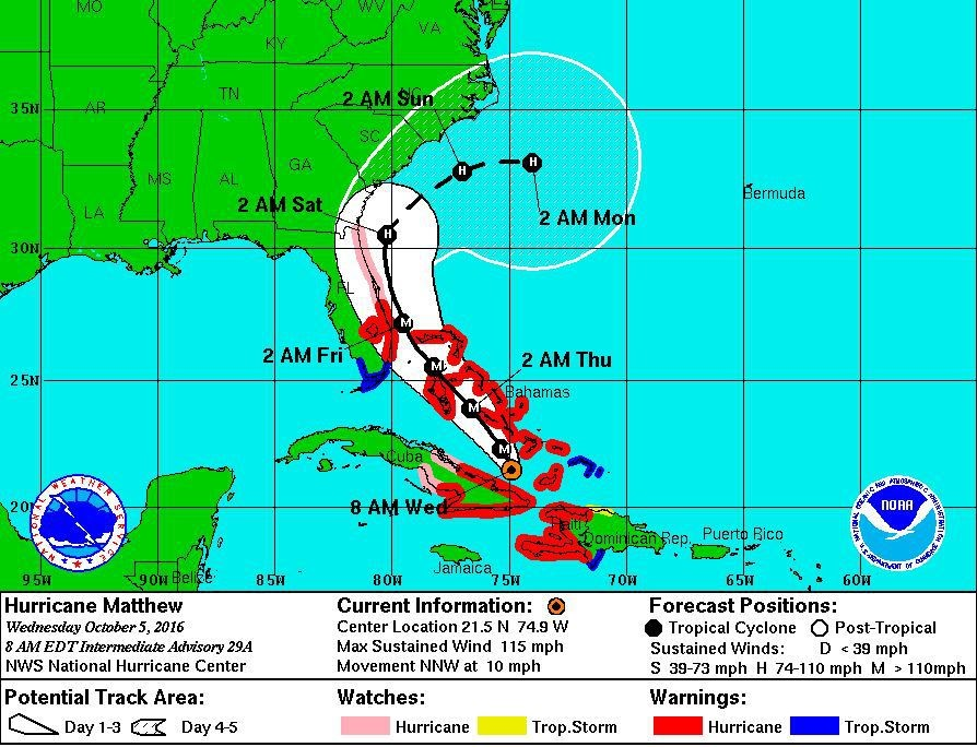 Hurricane Matthew has Inched Closer to Florida and We are Now in the Cone
